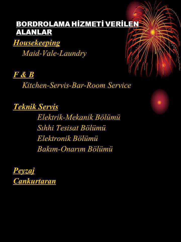 Housekeeping Maid-Vale-Laundry F & B Kitchen-Servis-Bar-Room Service Teknik Servis Elektrik-Mekanik Bölümü Sıhhi Tesisat Bölümü Elektronik Bölümü Bakı
