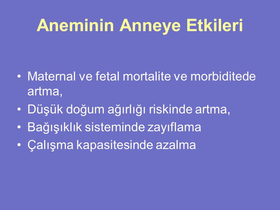 Aneminin Anneye Etkileri Maternal ve fetal mortalite ve morbiditede artma, Düşük doğum ağırlığı riskinde artma, Bağışıklık sisteminde zayıflama Çalışm