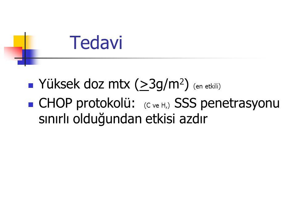 Yüksek doz mtx (>3g/m 2 ) (en etkili) CHOP protokolü: (C ve H,) SSS penetrasyonu sınırlı olduğundan etkisi azdır Tedavi
