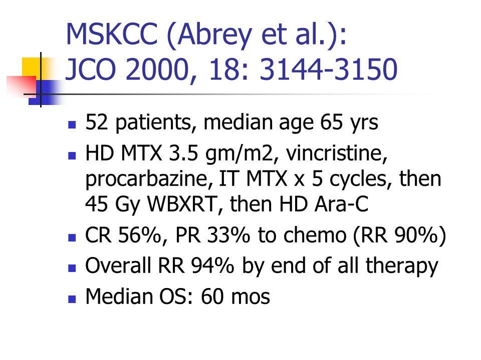 MSKCC (Abrey et al.): JCO 2000, 18: 3144-3150 52 patients, median age 65 yrs HD MTX 3.5 gm/m2, vincristine, procarbazine, IT MTX x 5 cycles, then 45 G
