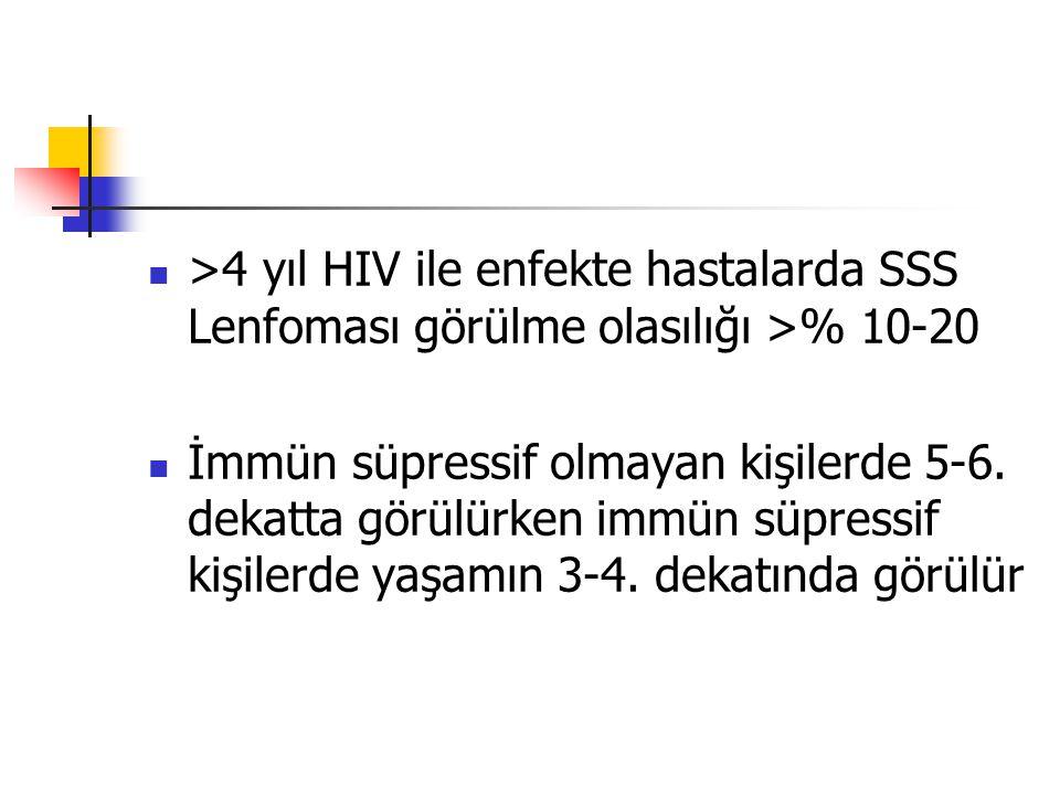 >4 yıl HIV ile enfekte hastalarda SSS Lenfoması görülme olasılığı >% 10-20 İmmün süpressif olmayan kişilerde 5-6. dekatta görülürken immün süpressif k