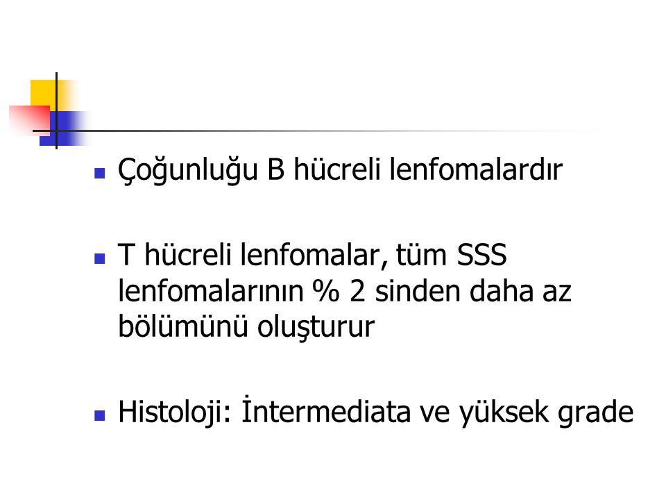 Yerleşim yeri Parankimal (>%90) Genellikle Soliter(%75) multifokal olabilir Başlıca supratentorial bölgelerde (%75), ancak infratentorial de olabilir Periventriküler yerleşim eğilimi vardır Leptomeningeal Genellikle beyin tutulumu olmaksızın görülmez Sadece oküler tutulum ~%10 Primer spinal tutulum (<%1 PSSSL) %15-40 ında serebrumda multifokal lezyonlar ortaya çıkabilir %10-30 unda BOS sitolojik incelemede pozitif bulunur