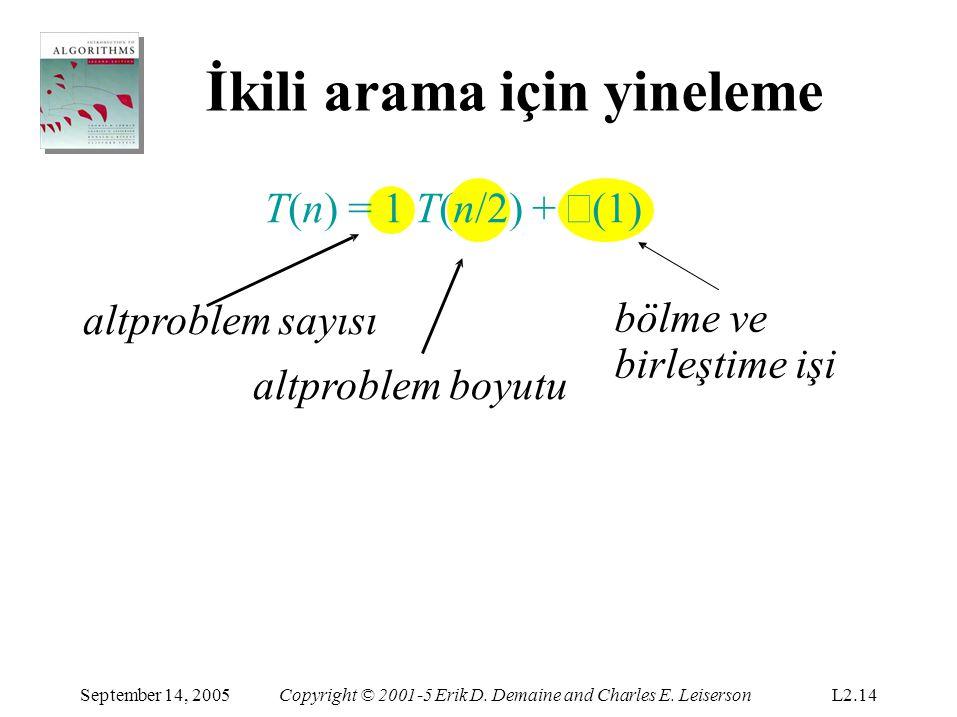 İkili arama için yineleme T(n) = 1 T(n/2) + Θ (1) altproblem sayısı altproblem boyutu bölme ve birleştime işi September 14, 2005Copyright © 2001-5 Eri
