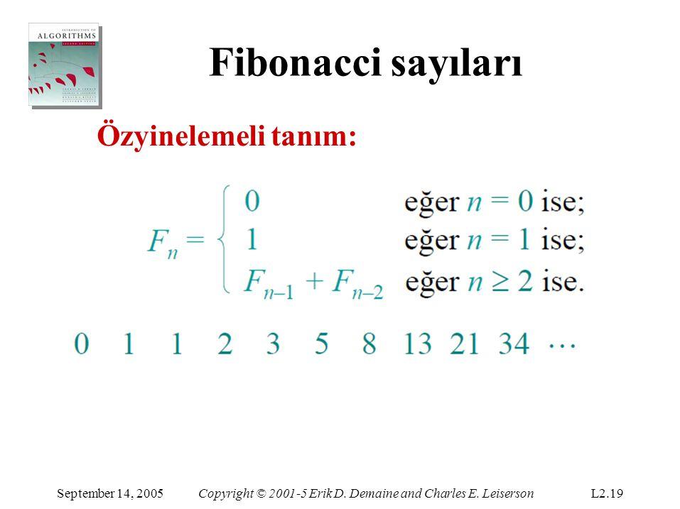 Fibonacci sayıları Özyinelemeli tanım: September 14, 2005Copyright © 2001-5 Erik D. Demaine and Charles E. LeisersonL2.19