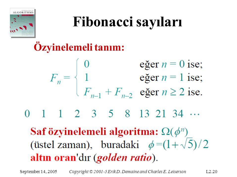 Fibonacci sayıları Özyinelemeli tanım: September 14, 2005Copyright © 2001-5 Erik D. Demaine and Charles E. LeisersonL2.20
