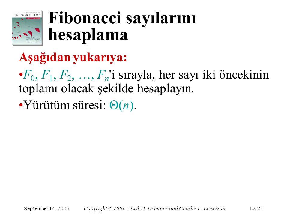 Fibonacci sayılarını hesaplama September 14, 2005Copyright © 2001-5 Erik D. Demaine and Charles E. LeisersonL2.21 Aşağıdan yukarıya: F 0, F 1, F 2, …,