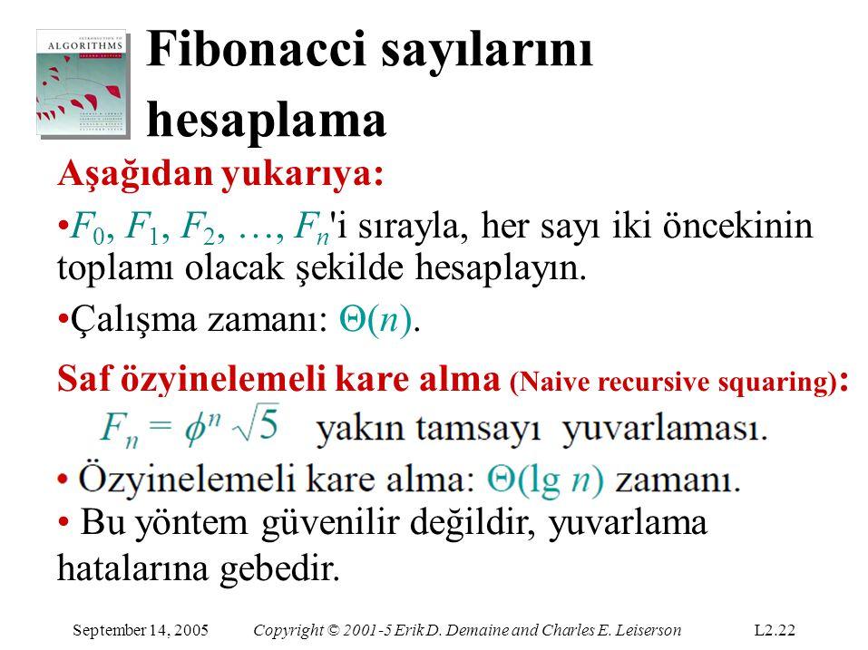 Fibonacci sayılarını hesaplama Aşağıdan yukarıya: F 0, F 1, F 2, …, F n 'i sırayla, her sayı iki öncekinin toplamı olacak şekilde hesaplayın. Çalışma