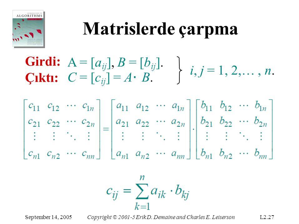 Matrislerde çarpma Girdi: Çıktı: A = [a ij ], B = [b ij ]. C = [c ij ] = A ⋅ B. i, j = 1, 2,…, n. September 14, 2005Copyright © 2001-5 Erik D. Demaine