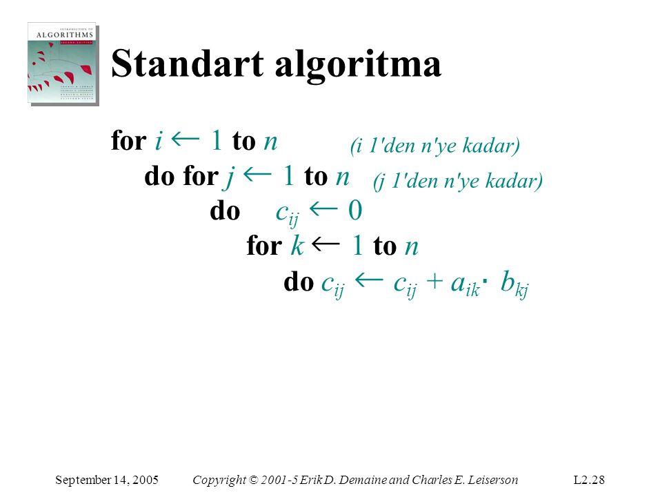Standartalgoritma September 14, 2005Copyright © 2001-5 Erik D. Demaine and Charles E. LeisersonL2.28 for i ← 1 to n (i 1'den n'ye kadar) do for j ← 1