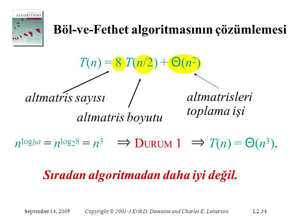 altmatris sayısı altmatris boyutu altmatrisleri toplama işi Böl-ve-Fethet algoritmasının çözümlemesi T(n) = 8 T(n/2) + Θ (n 2 ) September 14, 2005Copy