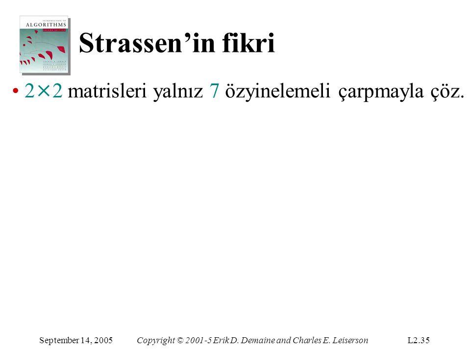 Strassen'in fikri September 14, 2005Copyright © 2001-5 Erik D. Demaine and Charles E. LeisersonL2.35 2 × 2 matrisleri yalnız 7 özyinelemeli çarpmayla