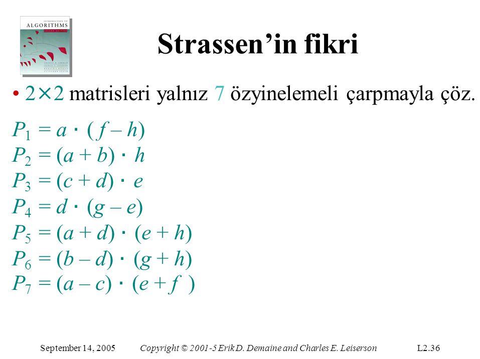 Strassen'in fikri September 14, 2005Copyright © 2001-5 Erik D. Demaine and Charles E. LeisersonL2.36 2 × 2 matrisleri yalnız 7 özyinelemeli çarpmayla