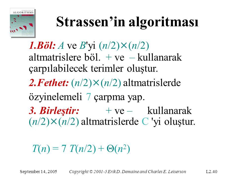 Strassen'in algoritması September 14, 2005Copyright © 2001-5 Erik D. Demaine and Charles E. LeisersonL2.40 1.Böl: A ve B'yi (n/2) × (n/2) altmatrisler