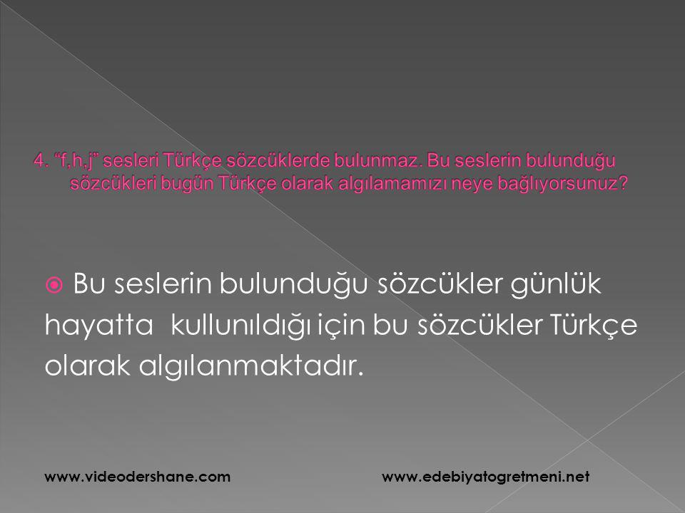  Bu seslerin bulunduğu sözcükler günlük hayatta kullunıldığı için bu sözcükler Türkçe olarak algılanmaktadır. www.videodershane.com www.edebiyatogret