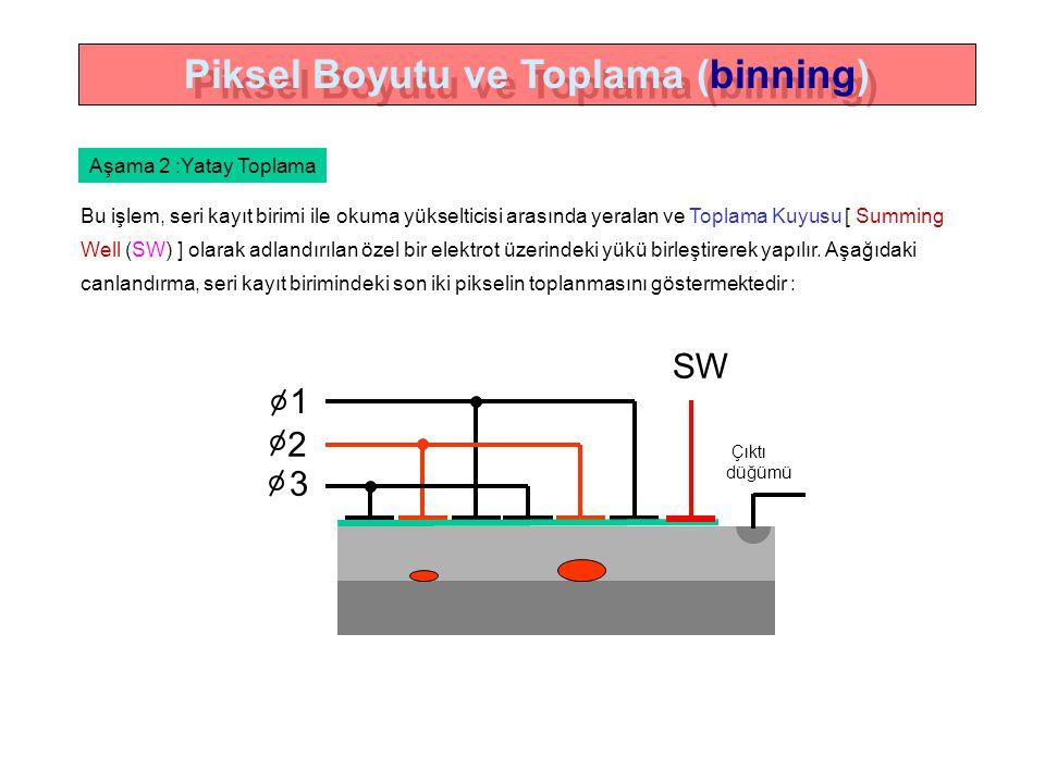 Bu işlem, seri kayıt birimi ile okuma yükselticisi arasında yeralan ve Toplama Kuyusu [ Summing Well (SW) ] olarak adlandırılan özel bir elektrot üzerindeki yükü birleştirerek yapılır.