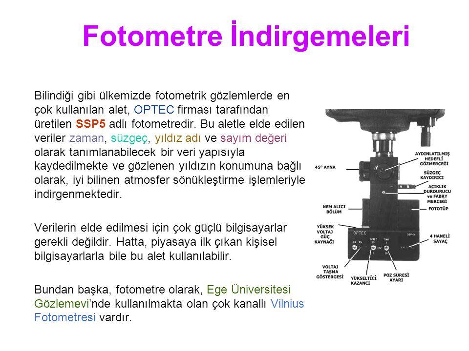 Fotometre İndirgemeleri Bilindiği gibi ülkemizde fotometrik gözlemlerde en çok kullanılan alet, OPTEC firması tarafından üretilen SSP5 adlı fotometredir.