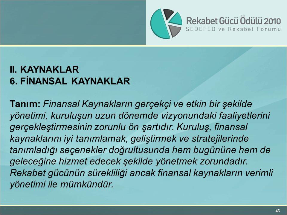 46 II. KAYNAKLAR 6. FİNANSAL KAYNAKLAR Tanım: Finansal Kaynakların gerçekçi ve etkin bir şekilde yönetimi, kuruluşun uzun dönemde vizyonundaki faaliye