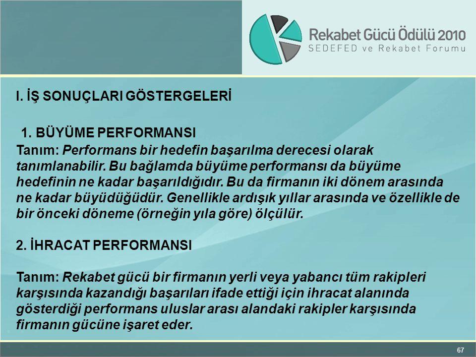 67 I. İŞ SONUÇLARI GÖSTERGELERİ 1. BÜYÜME PERFORMANSI Tanım: Performans bir hedefin başarılma derecesi olarak tanımlanabilir. Bu bağlamda büyüme perfo