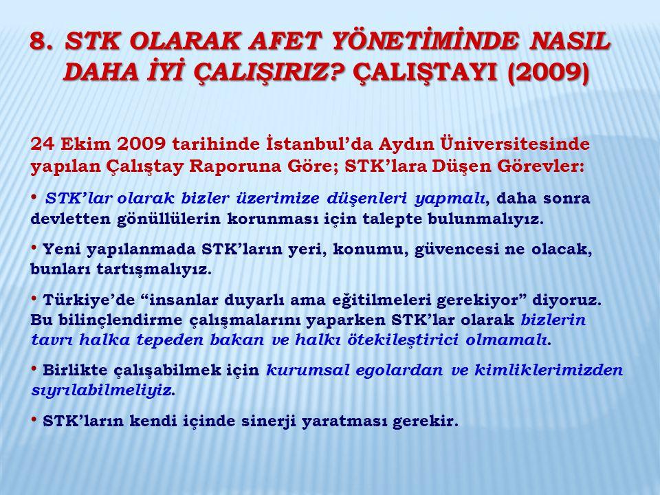 24 Ekim 2009 tarihinde İstanbul'da Aydın Üniversitesinde yapılan Çalıştay Raporuna Göre; STK'lara Düşen Görevler: STK'lar olarak bizler üzerimize düşe
