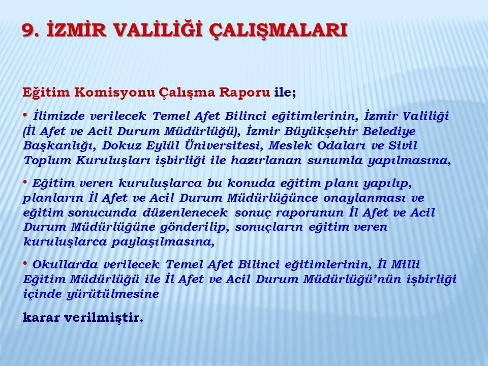 Eğitim Komisyonu Çalışma Raporu ile; İlimizde verilecek Temel Afet Bilinci eğitimlerinin, İzmir Valiliği (İl Afet ve Acil Durum Müdürlüğü), İzmir Büyü