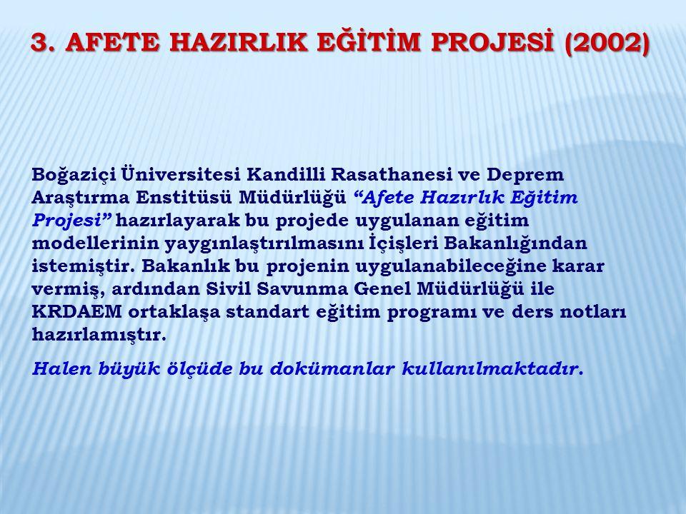 """Boğaziçi Üniversitesi Kandilli Rasathanesi ve Deprem Araştırma Enstitüsü Müdürlüğü """"Afete Hazırlık Eğitim Projesi"""" hazırlayarak bu projede uygulanan e"""