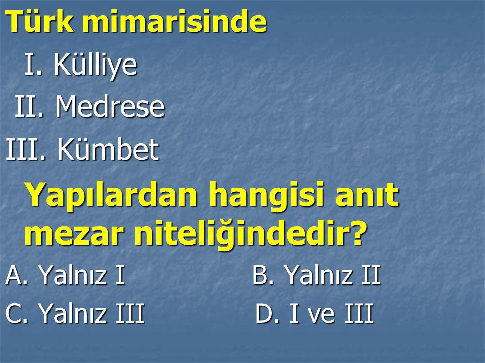 Türk mimarisinde I.Külliye I. Külliye II. Medrese II.