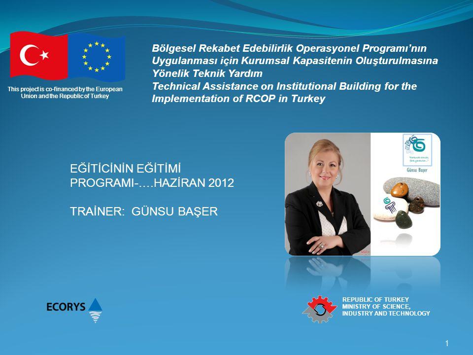 This project is co-financed by the European Union and the Republic of Turkey REPUBLIC OF TURKEY MINISTRY OF SCIENCE, INDUSTRY AND TECHNOLOGY Eğitim ve Gelişim Programlarında Süreç Gereksinimlerinin Belirlenmesi Şirketin ihtiyaç analizi İşin ihtiyaç analizi Çalışanın ihtiyaç analizi Programların Uygulanması İşbaşı eğitim Kuramsal eğitim Değerlendirme