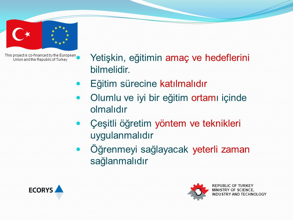 This project is co-financed by the European Union and the Republic of Turkey REPUBLIC OF TURKEY MINISTRY OF SCIENCE, INDUSTRY AND TECHNOLOGY Yetişkin, eğitimin amaç ve hedeflerini bilmelidir.