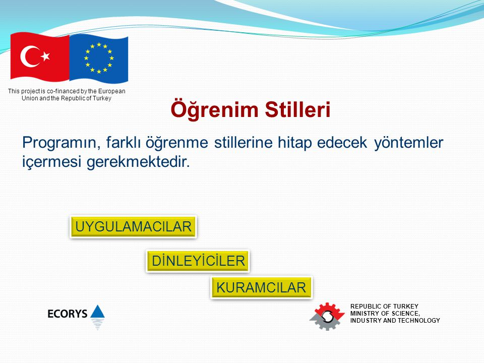 This project is co-financed by the European Union and the Republic of Turkey REPUBLIC OF TURKEY MINISTRY OF SCIENCE, INDUSTRY AND TECHNOLOGY Öğrenim S