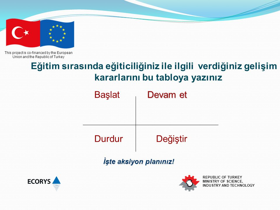 This project is co-financed by the European Union and the Republic of Turkey REPUBLIC OF TURKEY MINISTRY OF SCIENCE, INDUSTRY AND TECHNOLOGY Yapıyı oluştururken dikkat .