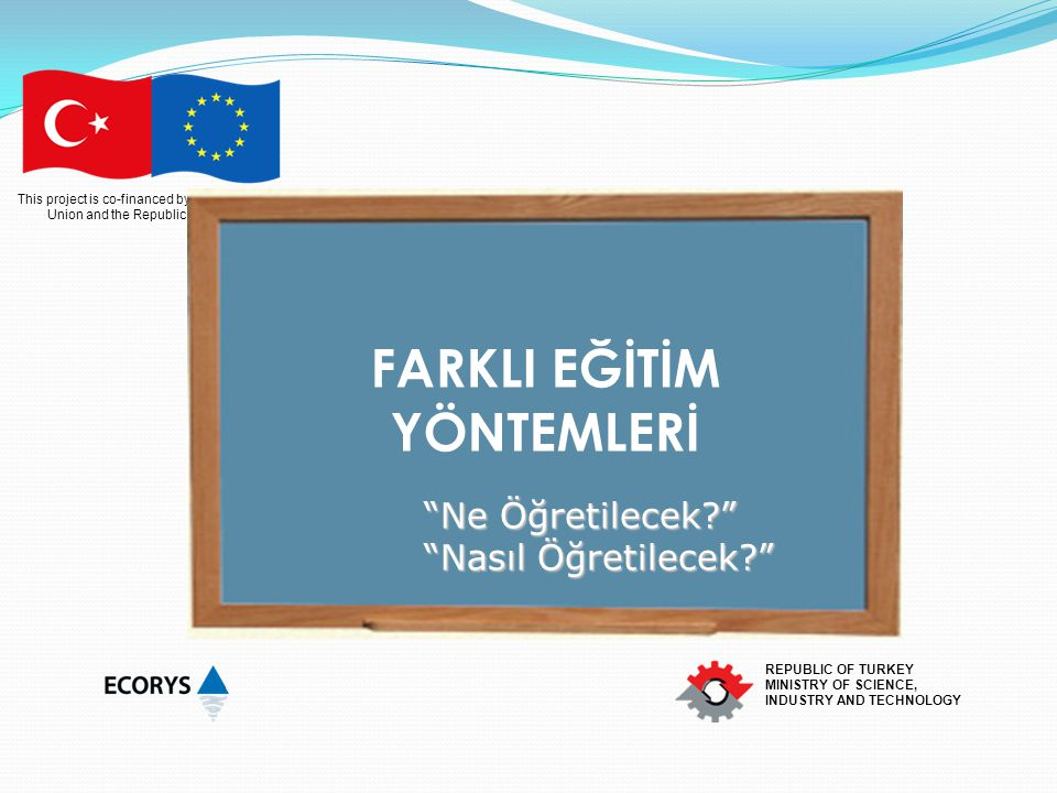 This project is co-financed by the European Union and the Republic of Turkey REPUBLIC OF TURKEY MINISTRY OF SCIENCE, INDUSTRY AND TECHNOLOGY FARKLI EĞ
