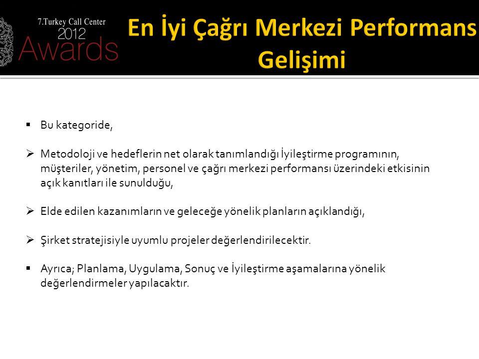  Bu kategoride,  Metodoloji ve hedeflerin net olarak tanımlandığı İyileştirme programının, müşteriler, yönetim, personel ve çağrı merkezi performans