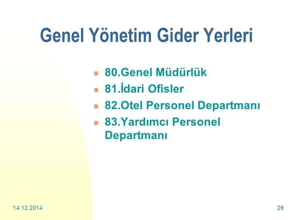 14.12.201426 Genel Yönetim Gider Yerleri 80.Genel Müdürlük 81.İdari Ofisler 82.Otel Personel Departmanı 83.Yardımcı Personel Departmanı