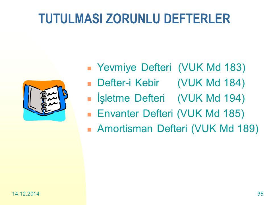 14.12.201435 TUTULMASI ZORUNLU DEFTERLER Yevmiye Defteri (VUK Md 183) Defter-i Kebir (VUK Md 184) İşletme Defteri (VUK Md 194) Envanter Defteri (VUK Md 185) Amortisman Defteri (VUK Md 189)