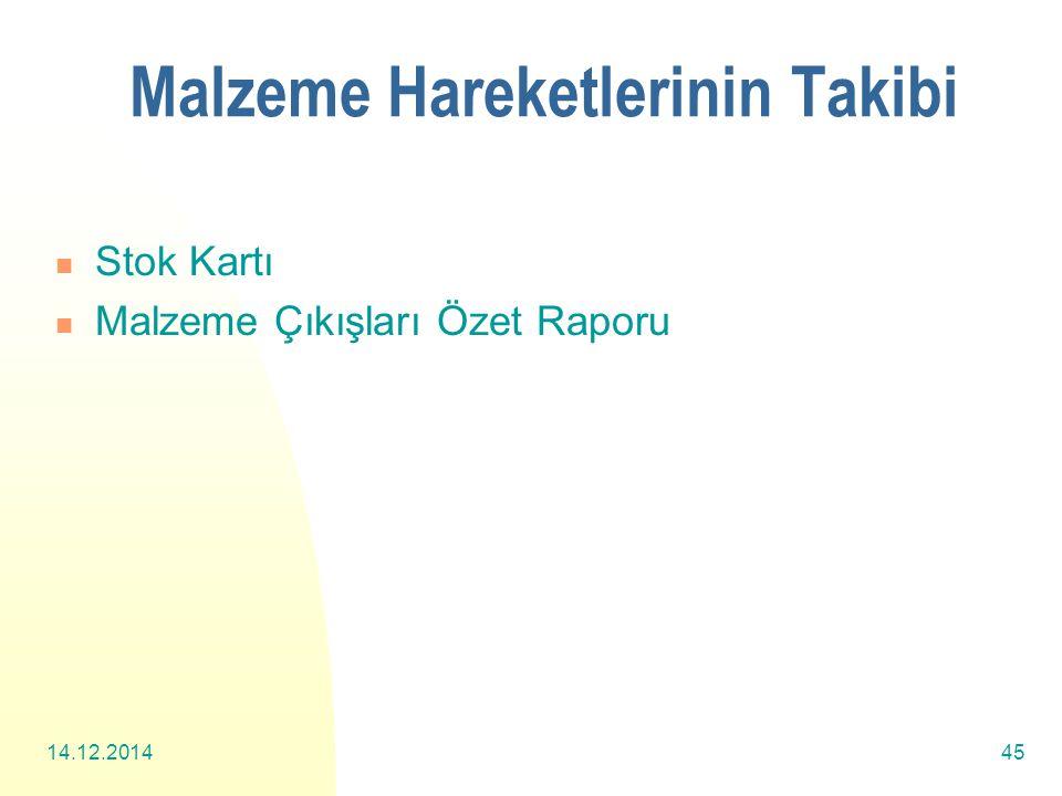 14.12.201445 Malzeme Hareketlerinin Takibi Stok Kartı Malzeme Çıkışları Özet Raporu