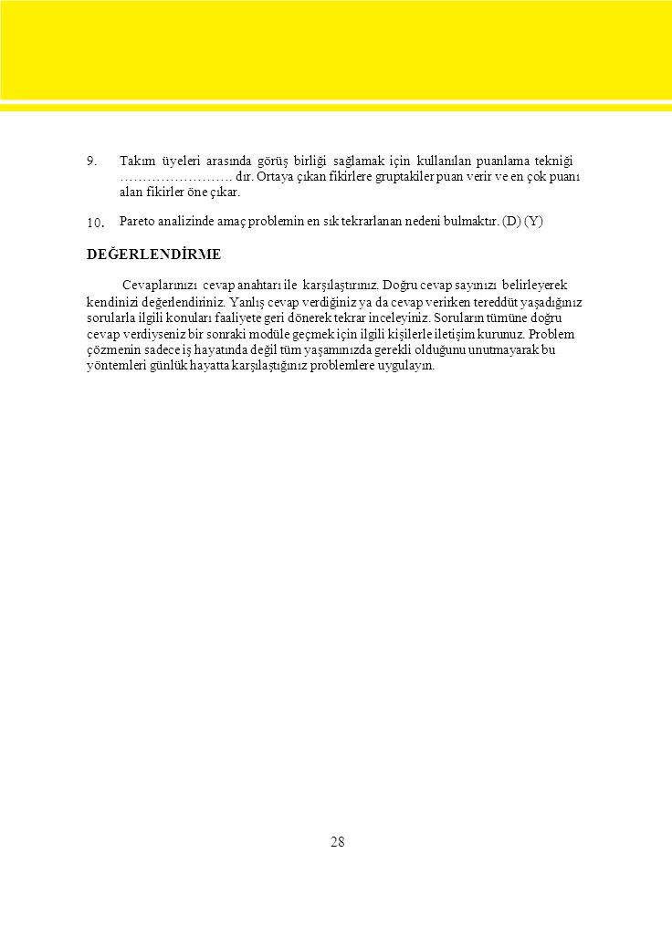 9. 10. Takım üyeleri arasında görüş birliği sağlamak için kullanılan puanlama tekniği ……………………. dır. Ortaya çıkan fikirlere gruptakiler puan verir ve