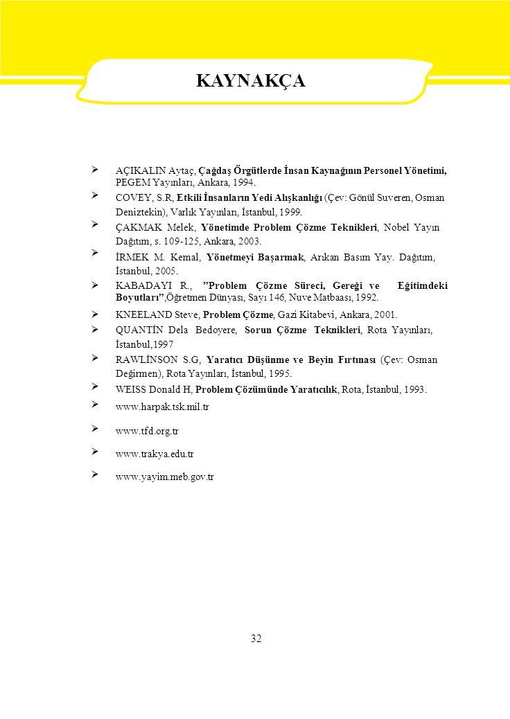  AÇIKALIN Aytaç, Çağdaş Örgütlerde İnsan Kaynağının Personel Yönetimi, PEGEM Yayınları, Ankara, 1994. COVEY, S.R, Etkili İnsanların Yedi Alışk