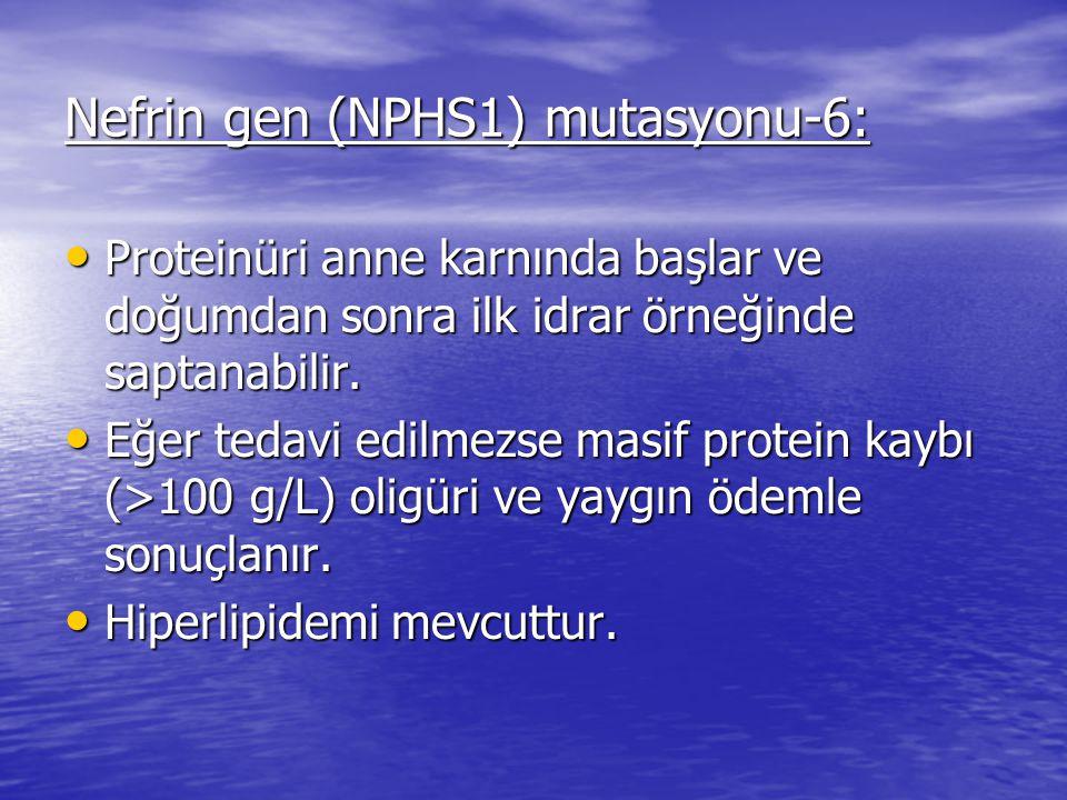 Nefrin gen (NPHS1) mutasyonu-6: Proteinüri anne karnında başlar ve doğumdan sonra ilk idrar örneğinde saptanabilir.