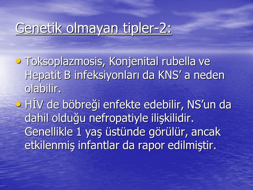 Genetik olmayan tipler-2: Toksoplazmosis, Konjenital rubella ve Hepatit B infeksiyonları da KNS' a neden olabilir.