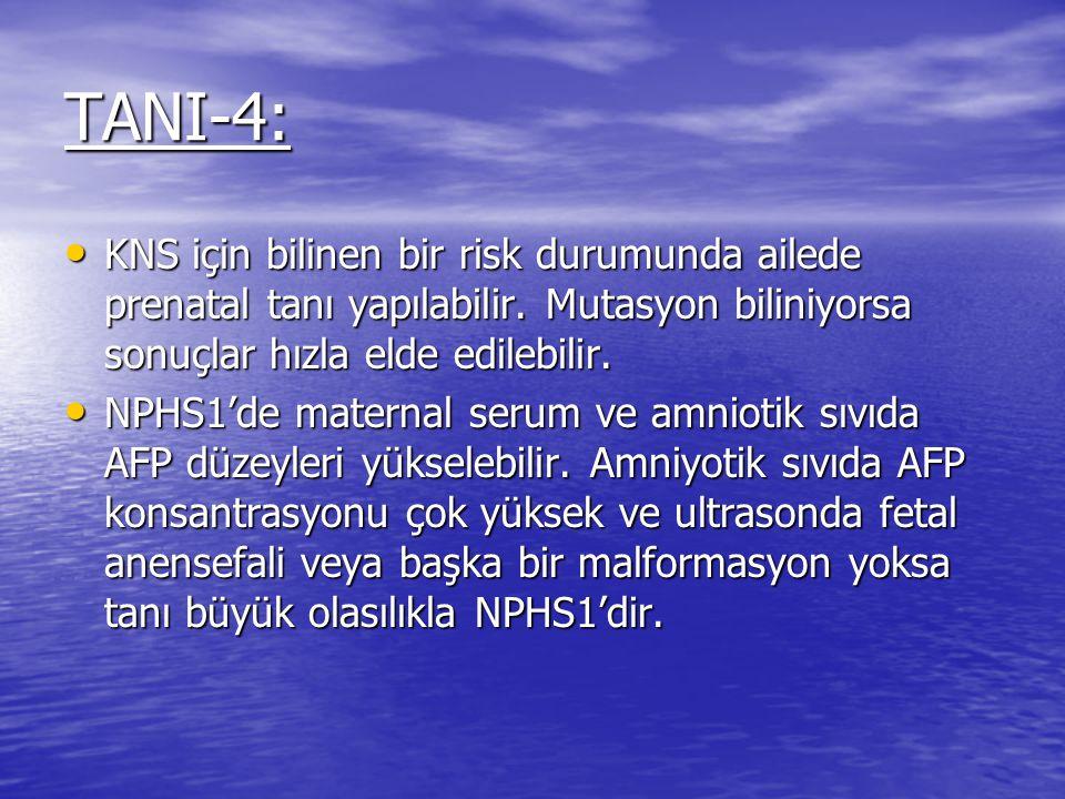 TANI-4: KNS için bilinen bir risk durumunda ailede prenatal tanı yapılabilir.