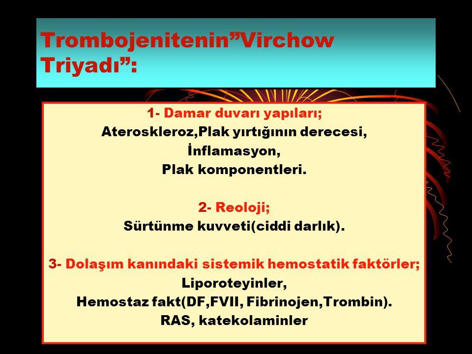 """Trombojenitenin""""Virchow Triyadı"""": 1- Damar duvarı yapıları; Ateroskleroz,Plak yırtığının derecesi, İnflamasyon, Plak komponentleri. 2- Reoloji; Sürtün"""