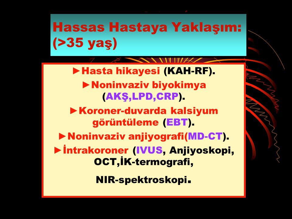 Hassas Hastaya Yaklaşım: (>35 yaş) ►Hasta hikayesi (KAH-RF). ►Noninvaziv biyokimya (AKŞ,LPD,CRP). ►Koroner-duvarda kalsiyum görüntüleme (EBT). ►Noninv