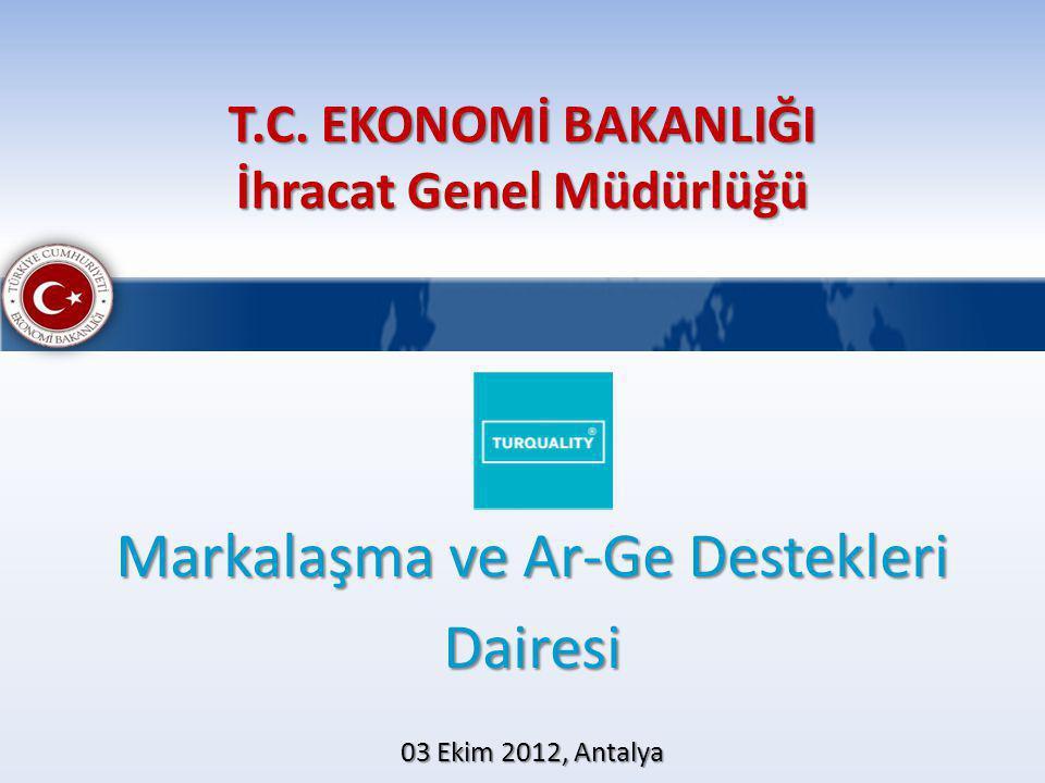 T.C. EKONOMİ BAKANLIĞI İhracat Genel Müdürlüğü Markalaşma ve Ar-Ge Destekleri Dairesi 03 Ekim 2012, Antalya