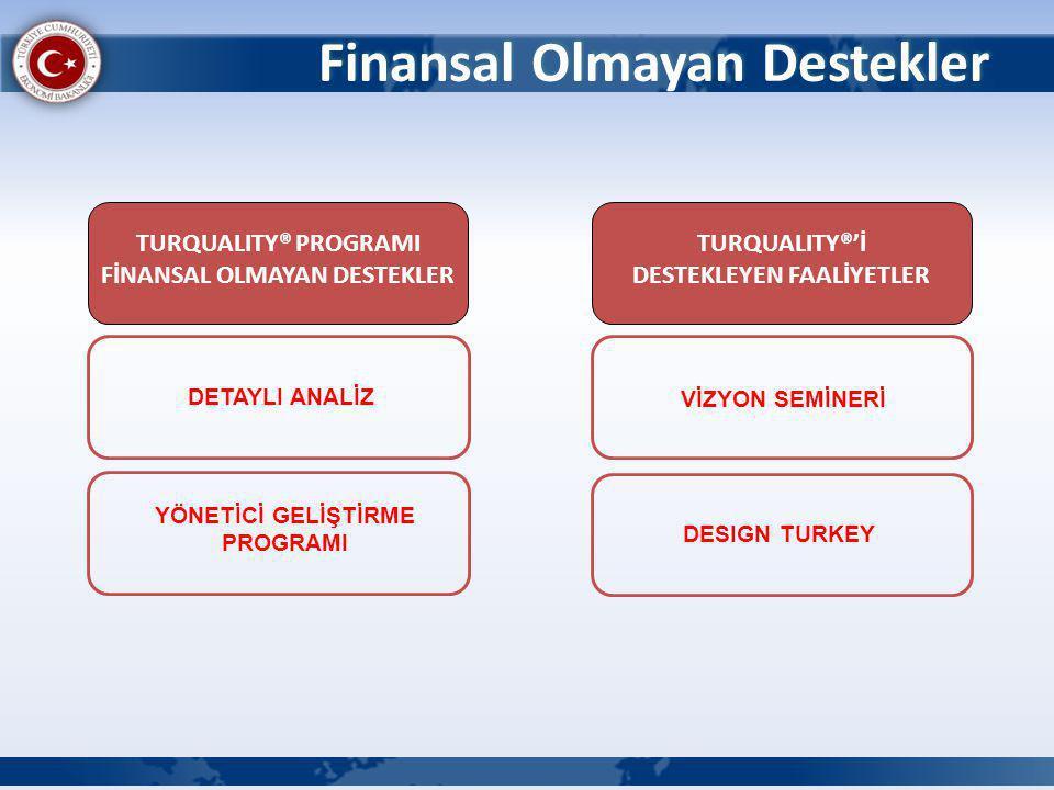 Finansal Olmayan Destekler TURQUALITY® PROGRAMI FİNANSAL OLMAYAN DESTEKLER DETAYLI ANALİZ YÖNETİCİ GELİŞTİRME PROGRAMI VİZYON SEMİNERİ DESIGN TURKEY TURQUALITY®'İ DESTEKLEYEN FAALİYETLER