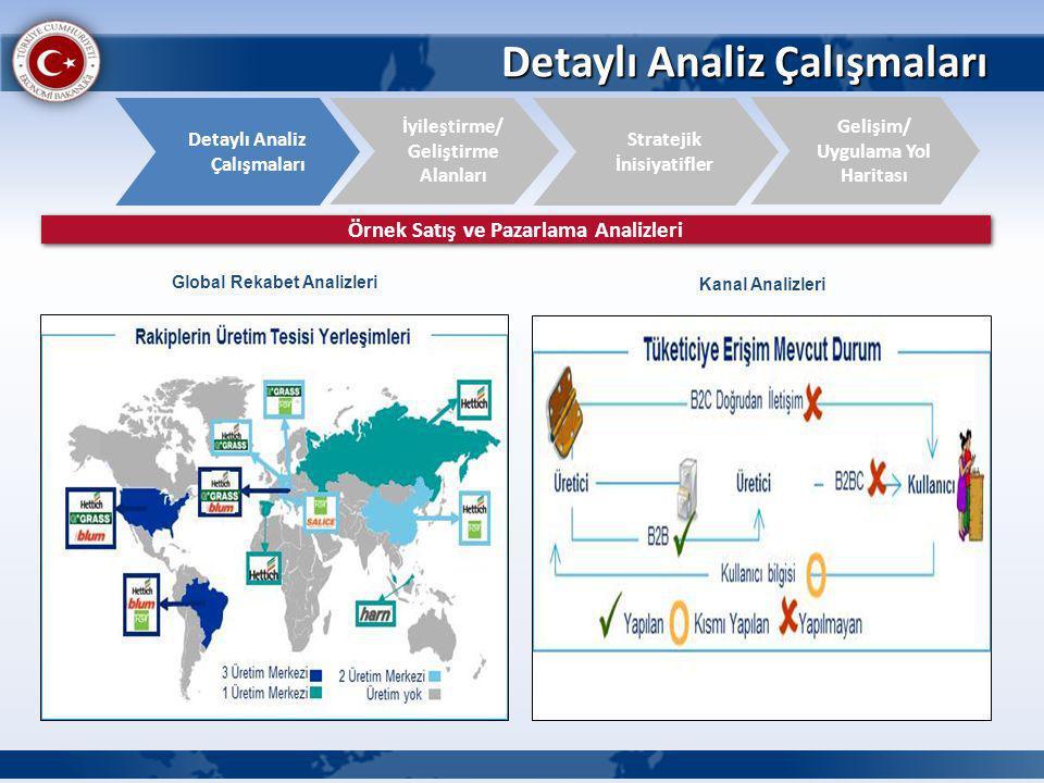 Detaylı Analiz Çalışmaları İyileştirme/ Geliştirme Alanları Detaylı Analiz Çalışmaları Gelişim/ Uygulama Yol Haritası Stratejik İnisiyatifler Örnek Satış ve Pazarlama Analizleri Global Rekabet Analizleri Kanal Analizleri