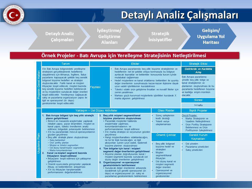 Detaylı Analiz Çalışmaları İyileştirme/ Geliştirme Alanları Detaylı Analiz Çalışmaları Gelişim/ Uygulama Yol Haritası Stratejik İnisiyatifler Örnek Pr