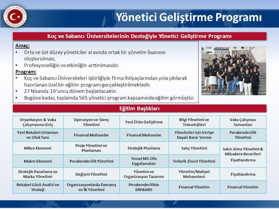 Yönetici Geliştirme Programı Koç ve Sabancı Üniversitelerinin Desteğiyle Yönetici Geliştirme Programı Amaç: Orta ve üst düzey yöneticiler arasında ort