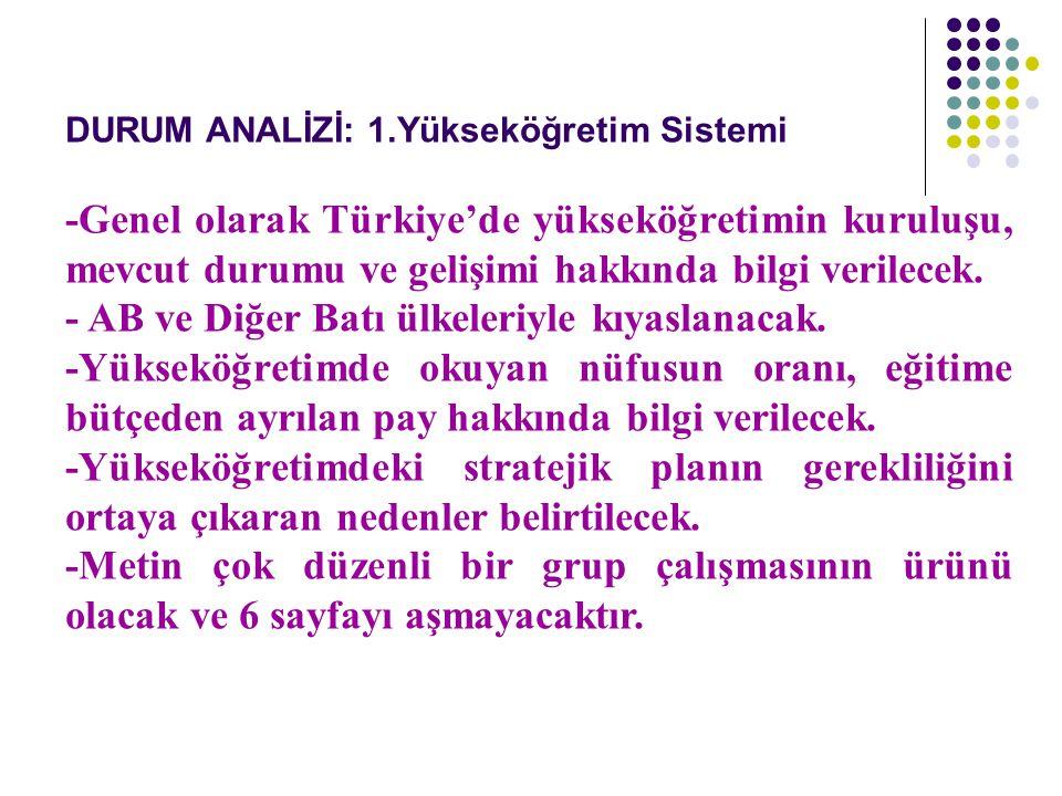 DURUM ANALİZİ: 1.Yükseköğretim Sistemi -Genel olarak Türkiye'de yükseköğretimin kuruluşu, mevcut durumu ve gelişimi hakkında bilgi verilecek. - AB ve