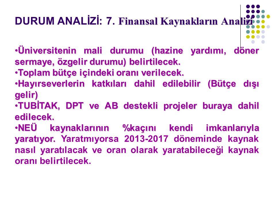 Finansal Kaynakların Analizi DURUM ANALİZİ: 7. Finansal Kaynakların Analizi Üniversitenin mali durumu (hazine yardımı, döner sermaye, özgelir durumu)
