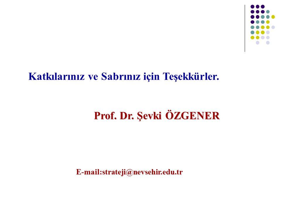 E-mail:strateji@nevsehir.edu.tr Katkılarınız ve Sabrınız için Teşekkürler. Prof. Dr. Şevki ÖZGENER Prof. Dr. Şevki ÖZGENER